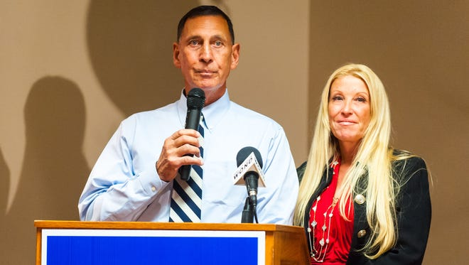 U.S. Rep. Frank LoBiondo, alongside his wife Tina Ercole, delivers a victory speech after winning re-election on Nov. 8, the same day he cast his ballot for Donald Trump in the presidential election.