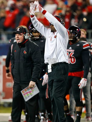Louisville head coach Bobby Petrino wasn't happy with most of the Cards' play in the first half of the 2014 Belk Bowl in Charlotte, North Carolina Tuesday evening.  Dec. 30, 2014 By Matt Stone/The Courier-Journal