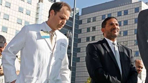 Dr. Zachary Rubin, medical director of clinical epidemiology and infection prevention at the Ronald Reagan UCLA Medical Center, left, and Dr. Robert Cherry, chief medical and quality officer for UCLA Health System, take questions from the media in Los Angeles. A second hospital has reported superbug infections.