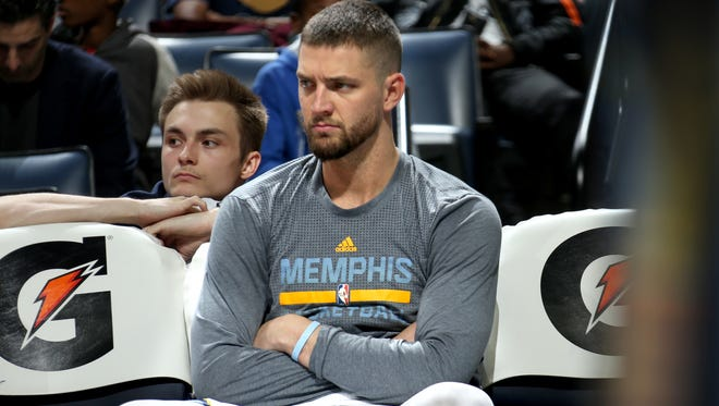 Memphis Grizzlies Chandler Parsons sits on the bench during a game against the Atlanta Hawks at FedExForum on March 11, 2016.