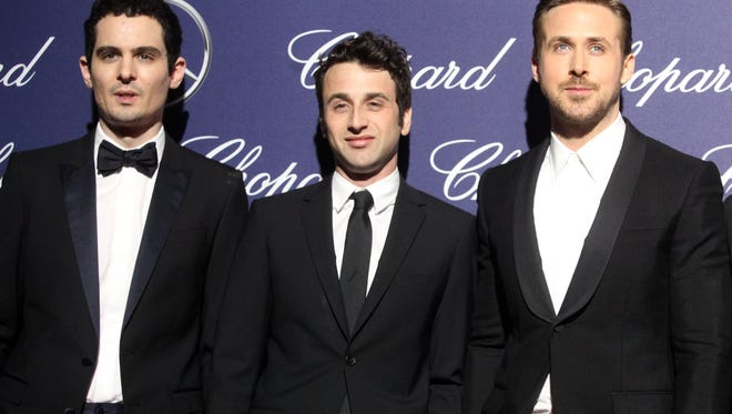Damien Chazelle, Justin Hurwitz, Ryan Gosling, on the red carpet for the Palm Springs International Film Festival Gala on Monday, January 2, 2016 in Palm Springs.
