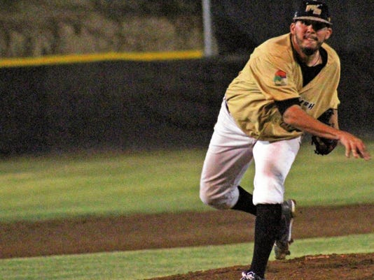 David Steele Jr. throws a pitch towards Tuesday night at the Griggs Sports Complex.