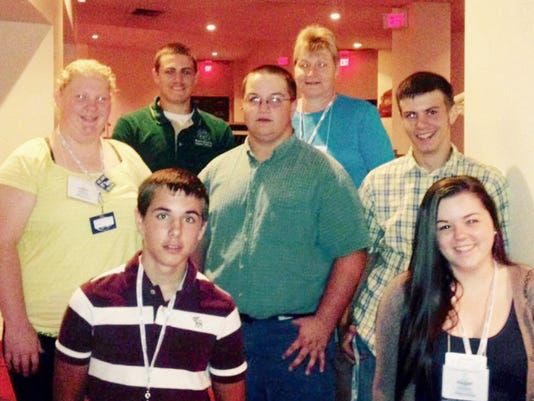 Adams County 4-H members who participated in Pennsylvania 4-H State Achievement Days are shown, front row, from left: G.W. Sebright and Megan Stoermer, Adams County 4-H summer assistant; middle row, Kaitlin Williams, Brad Woerner and Nathan Spangler; back row, Justin Klunk and Darlene Resh, Adams County 4-H educator.