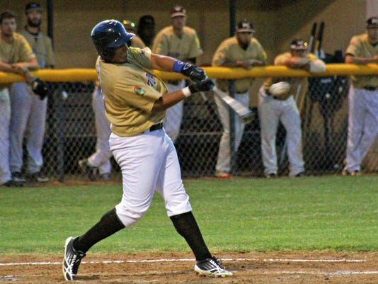Alvin Beltre hits a line drive into centerfield Wednesday night at the Griggs Sports Complex.