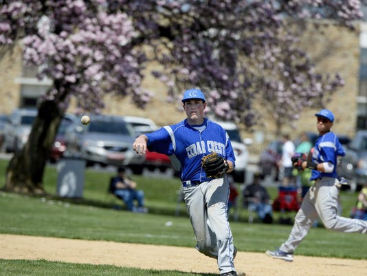 Cedar Crest's Gage Ocker makes a throw to first base during the game against Lebanon at Lebanon High School on Saturday, April 18, 2015. Crest won the game 12-3.