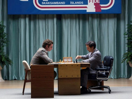 """Liev Schrieber, left, and Tobey Maguire in """"Pawn Sacrifice."""""""