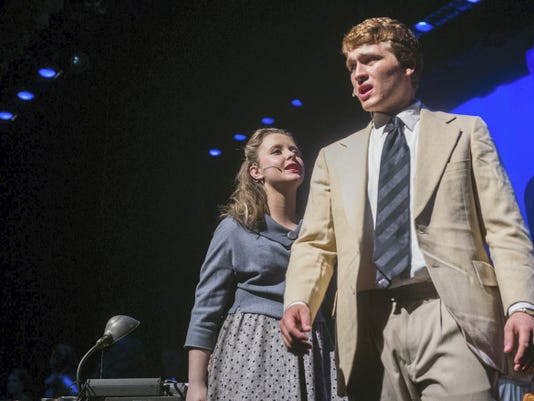 Script reader Betty Schaeffer, played by Madison Maloney, tries to talk to screenwriter Joe Gillis in a scene from 'Sunset Boulevard' on April 7.