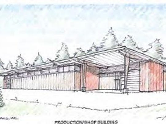 An artist's rendering of the props storage/workshop structure that Northern Sky Theater plans to build.