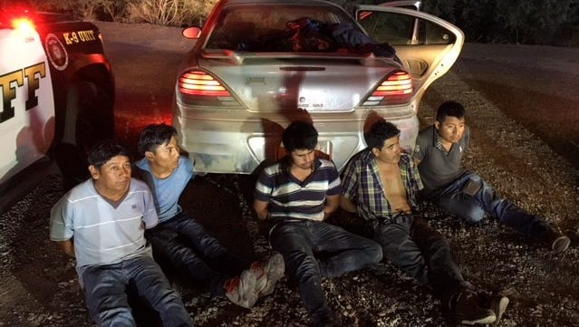 Five people suspected of being undocumented migrants were found in a car after a 20-mile chase on Interstate 10 early Thursday, officials said.