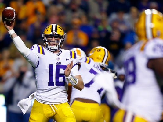 LSU quarterback Danny Etling (16) throws to a receiver during an NCAA college football game against Tennessee on Saturday, Nov. 18, 2017, in Knoxville, Tenn. (AP Photo/Wade Payne)