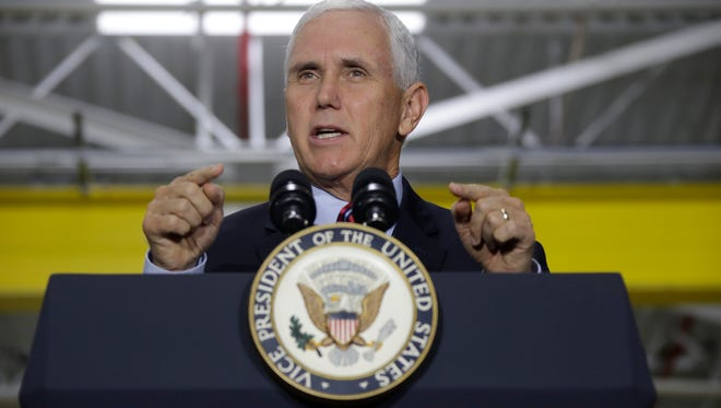 VP Mike Pence speaks at American Axle and Manufacturing in Auburn Hills on Thurs. Sept. 28, 2017.