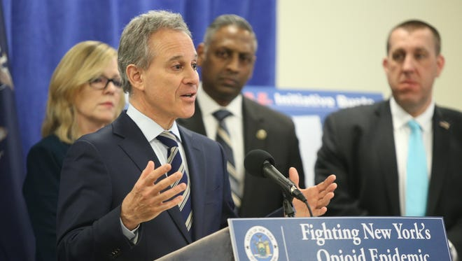 Attorney General Eric T. Schneiderman announces the takedown of a major violent narcotics trafficking ring operating in the Hudson Valley during a press conference at in White Plains on Tuesday, February 13, 2018.