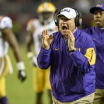 LSU Tigers head coach Les Miles reacts during the fourth quarter against the Alabama Crimson Tide at Bryant-Denny Stadium. Alabama won 30-16.