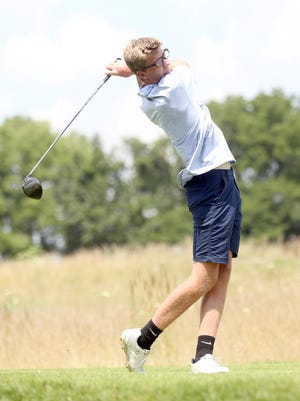 Boonville graduated senior Jake Horst tees off on No. 8 during a triangular meet Wednesday at Hail Ridge Golf Course in Boonville. In addition to Boonville, California and Salisbury also competed in the meet.