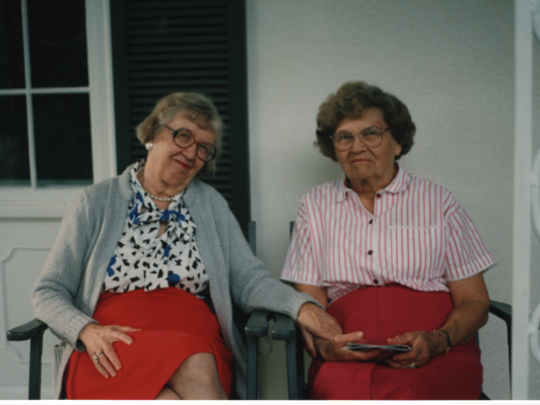 Louise Tostenrud, (right) with her best friend, Elaine