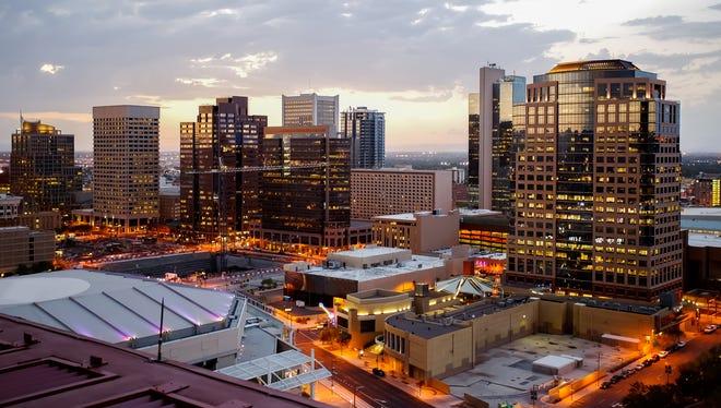 Downtown Phoenix during dusk.