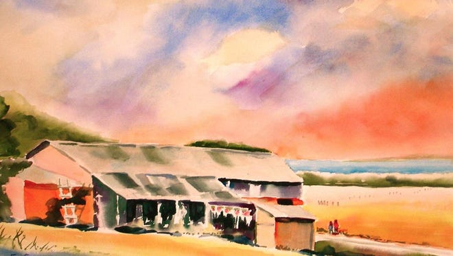 """The Old Place,"" watercolor by Ed Fenendael, part of the ""Artists of the World"" exhibit at Meadows Art Gallery in Sister Bay."