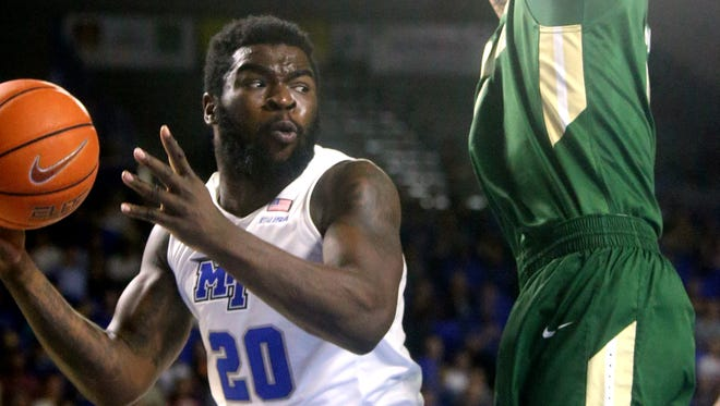 Giddy Potts (20) and the Blue Raiders will close out the regular season against FIU and FAU this weekend.