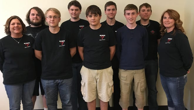 The Norfork Senior High Quiz Bowl team advances to the State Finals on April 23. The team will be competing against Lisa North out of Little Rock. The match will be broadcast live on AETN at 11 a.m. on April 23. Shown are front row from left, Pam Braun, coach; Jacob Moore; Ian Ruegsegger; Elias Krist; Stacy Havner (coach); and back row, Evan Thompson; Alex Ruegsegger; Elias Maple and Mason Rosson.