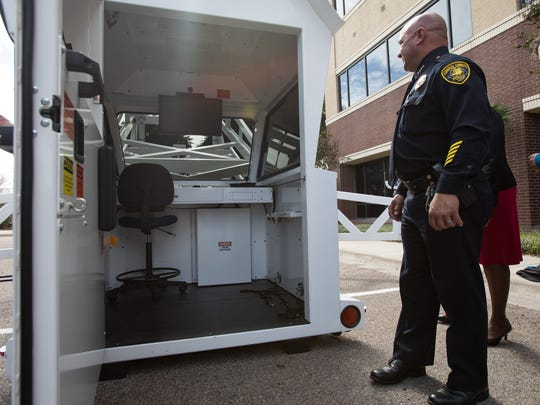 Corpus Christi Police Chief Mike Markle looks in to the departments new Skywatch donated by the Valero on Monday, Nov. 13, 2017.