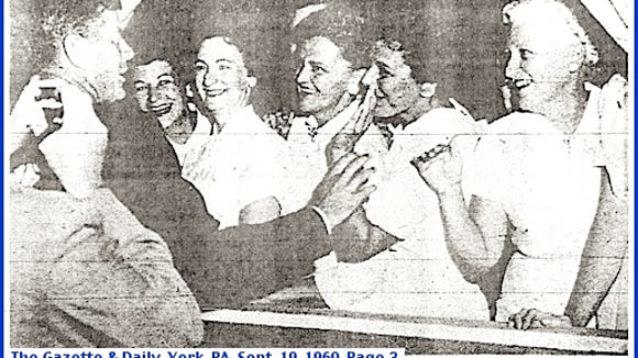 Photo on Page 3 of Monday September 19, 1960 issued of The Gazette & Daily, York, PA (Source: Newspaper microfilms at York County Heritage Trust)