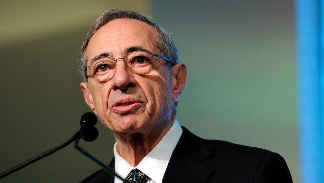 Former New York Gov. Mario Cuomo speaks from the podium at the Game Changers Awards at Skylight Soho in New York on Oct. 18, 2011.
