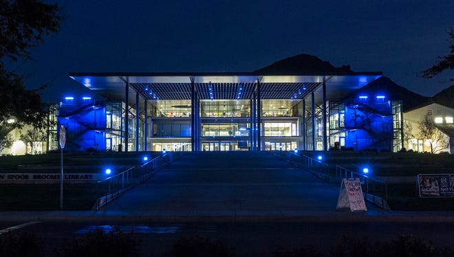 CSUCI is the winner for best college in west county. Shown here is the John Spoor Broome Library when it was bathed in blue light to recognize World Autism Awareness Day.