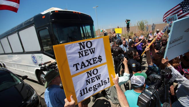 Angry protesters on Tuesday blocked three buses from entering the Murrieta Border Patrol station. Another 140 immigrants will be sent to El Centro on Wednesday