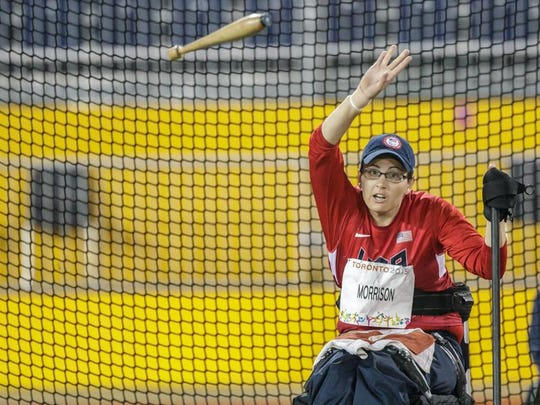 Rachael Morrison competes in the club throw Aug. 10 at CIBC Pan Am/Parapan Am Athletics Stadium in Toronto.