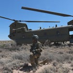 Bliss' Desert Knights practice survival skills after simulating helicopters shot down