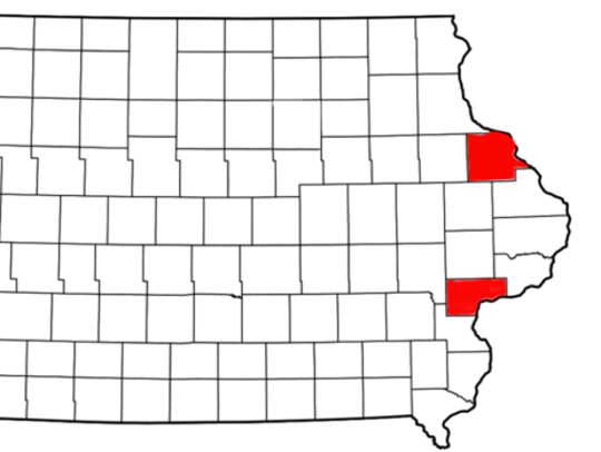 Dubuque County and Muscatine County (highlighted in