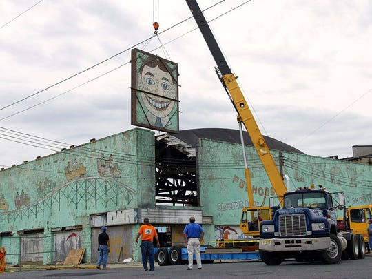 "2004  Amusements ""Tillie"" is lifted out with a crane to be preserved. Asbury Park Press File Photo"