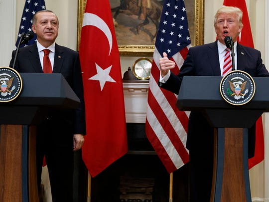 President Donald Trump, accompanied by Turkish President Recep Tayyip Erdogan, speaks in the Roosevelt Room of the White House on May 16.