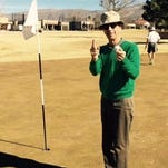 "Playing golf since he was 8 years old, Tony Clendenin, 72, thought he would never achieve his golfer's dream of a hole-in-one. On Jan. 21 he used an ""easy"" 7 iron to reach the 124 yard placement on hole number 4. Witnessed by Doug Cowley, Cleve Kurz and Ron Moncrief."
