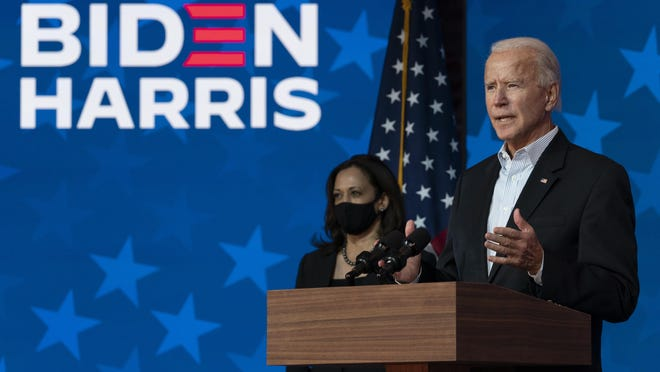 Democratic presidential candidate former Vice President Joe Biden joined by Democratic vice presidential candidate Sen. Kamala Harris, D-Calif., speaks at the The Queen theater Thursday, Nov. 5, 2020, in Wilmington, Del.