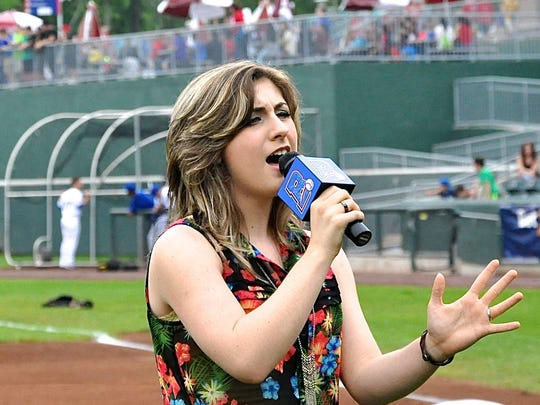 """Suffern resident Talina Toscano sings """"Just Be Nice"""" before Rockland Boulders game."""