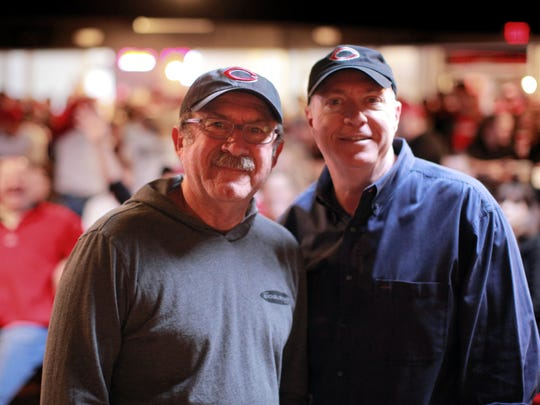 Bob Kevoian, left, and Tom Griswold, of the Bob and Tom Show, broadcasted live from the Whisky Bar downtown.