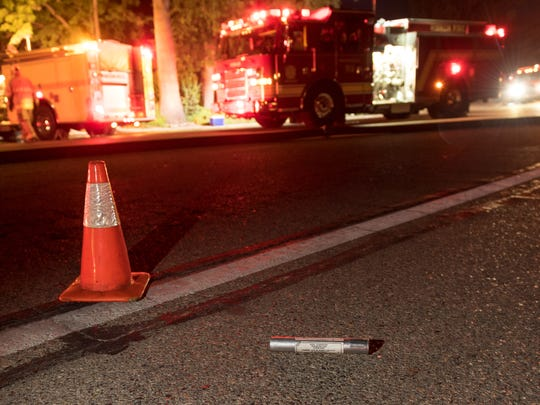 A spent flare cartridge lies in the street after a house fire in the 3900 block of West Whitendale caused about $80,000 in damage on Monday, August 27, 2018. Whitendale was closed in both directions between Demaree and Chinowth while crews worked. The initial investigation shows a flare gun was discharged in the area and caught the house on fire. Flames traveled to the attic. No injuries were reported.