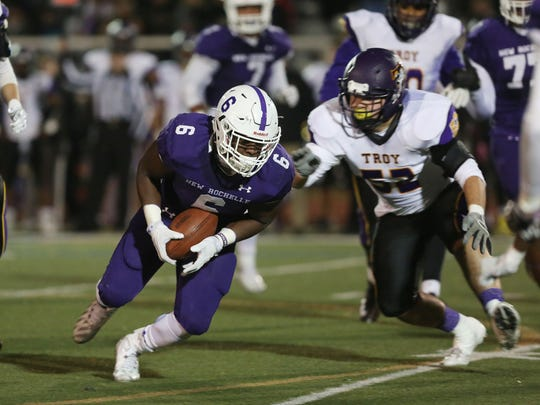 Troy defeated New Rochelle 20-14 in the state Class AA semifinal football game at Dietz Stadium in Kingston, N.Y. Nov. 19, 2016.