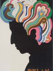 'Bob Dylan' is a poster designed in 1966 designed by Milton Glaser, American, born 1929. Offset lithograph from an ink drawing with a Cello-Tak overlay.