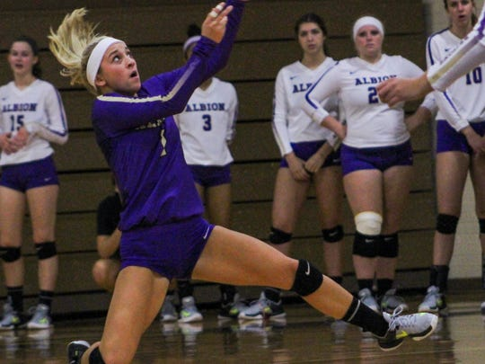 Monica Shuk is undersized but learned to specialize in defensive volleyball.