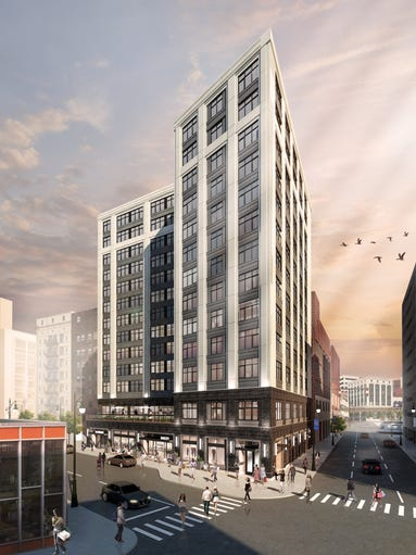 This is a rendering of the 28 Grand Apartment Building.