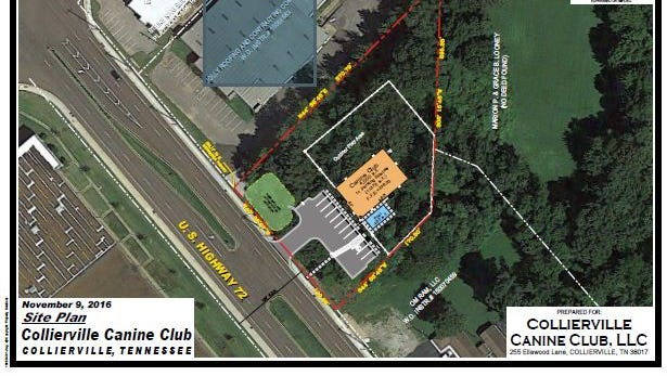 An image shows a proposed plan for a new dog kennel in Collierville.