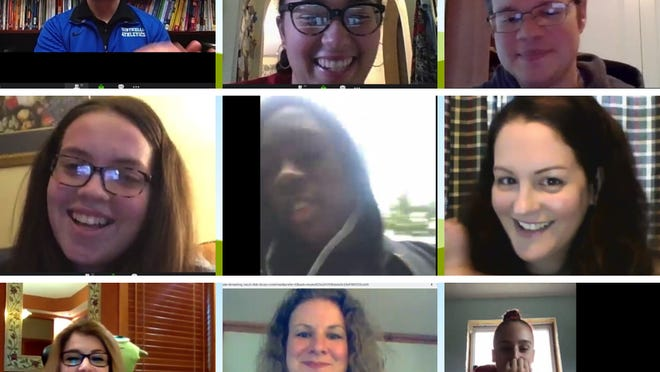 "Screenshots of staff and students during the virtual ceremony for the The Monticello High School  ""Student of Distinction"" Awards."