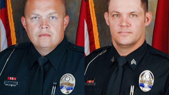 Gastonia Police officers M.A. Lewis and Sgt. C.E. Nelson were shot Thursday night while working security at Remedies nightclub on Union Road in Gastonia.
