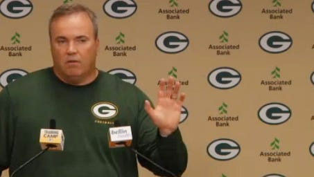 Green Bay Packers coach Mike McCarthy talks to reporters on Friday morning.