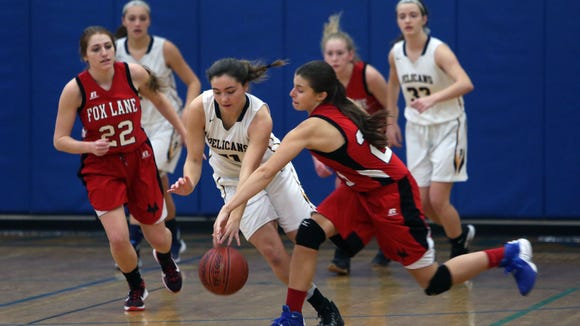 Fox Lane defeated Pelham 54-46 during girls basketball