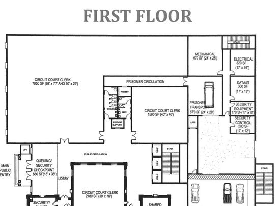 A floor plan for the first floor of the new courthouse