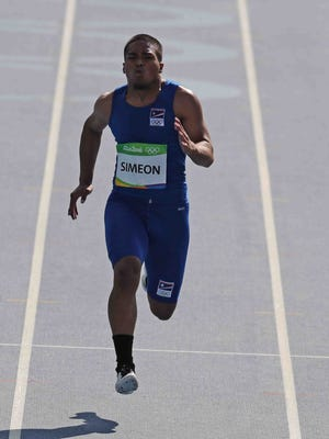 The Marshall Islands' Richson Simeon runs in a 100-meter sprint heat at the Rio de Janeiro Olympic Games on Aug. 13.