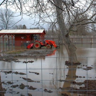 A flooded property east of Anderson on Hermosa Road
